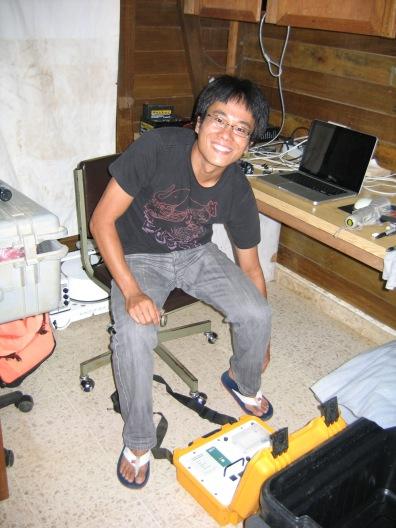 Shinichi prepares to do field work at La Selva Biological Research Station, Costa Rica.