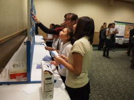 Students voting for favorite photo submissions.