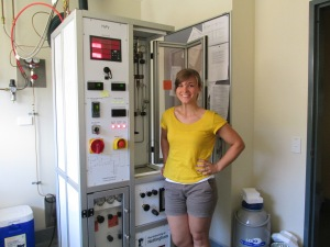 Me with the Hydrogen Pyrolysis rig. Samples are run two at a time, and each run takes about 1.5 hours. I ran 175 samples while at JCU.