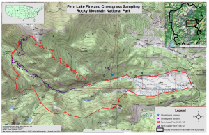 Figure 3. Fern Lake Fire extent and cheatgrass sampling in Rocky Mountain National Park. Map created by A. West.