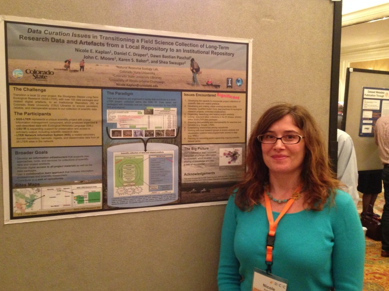 Nicole Kaplan showcasing her work and NREL at the International Digital Curation Conference in San Francisco.