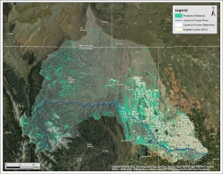 Model output predicting palustrine wetlands locations in the Cache la Poudre watershed, Northern Colorado, generated from three boosted regression trees models using Landsat 5 Thematic Mapper (TM) reflectance and derived indices (Multiple scene time series July 2003 - Nov. 2010), as well as ancillary GIS layers.  Image via http://www.earthzine.org/