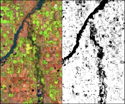 Capturing Colorado's Floods: A New Method for Extracting Peak Flood Extent.  (Left) False color Landsat 8 imagery captured Sept. 17, 2013, four days after peak flooding. (Right) ICA-derived surface showing St. Vrain and South Platte River at peak extent.[/caption] Authors: Stephen Chignell (Colorado State University) Ryan Anderson (University of Wyoming).  Image via http://www.earthzine.org/2014/03/30/capturing-colorados-floods-a-new-method-for-extracting-peak-flood-extent/.