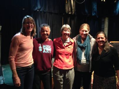 Five of Graduate Women in Science's mentors at a panel event, November 2014. Left to right, professors from CSU Dr. Sara Rathburn, Dr. Gillian Bowser, Dr. Ellen Wohl, Dr. Emily Fischer, and from the Denver Museum of Nature and Science Dr. Paula Cushing.